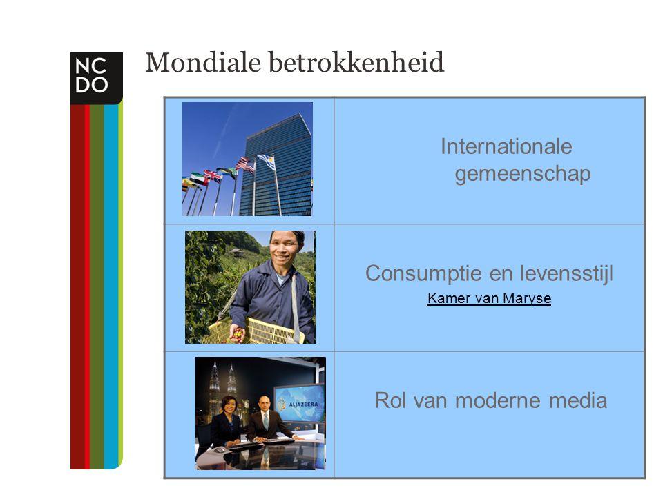 Mondiale betrokkenheid Internationale gemeenschap Consumptie en levensstijl Kamer van Maryse Rol van moderne media
