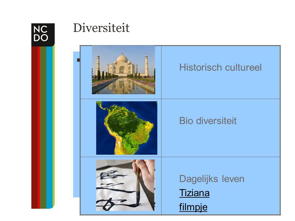Diversiteit .. Historisch cultureel Bio diversiteit Dagelijks leven Tiziana filmpje