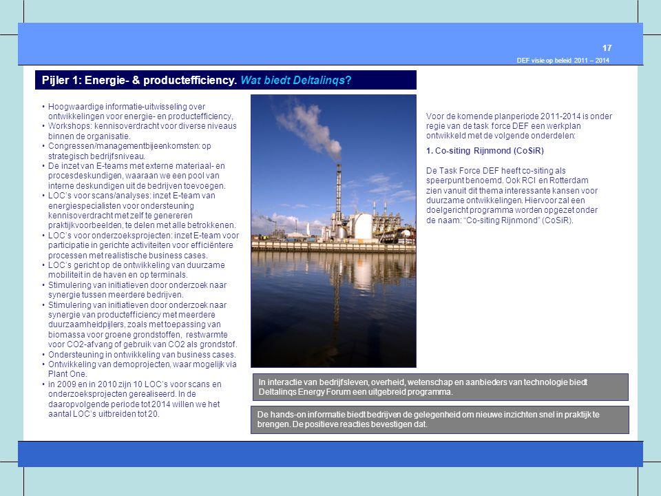 •Hoogwaardige informatie-uitwisseling over ontwikkelingen voor energie- en productefficiency, •Workshops: kennisoverdracht voor diverse niveaus binnen