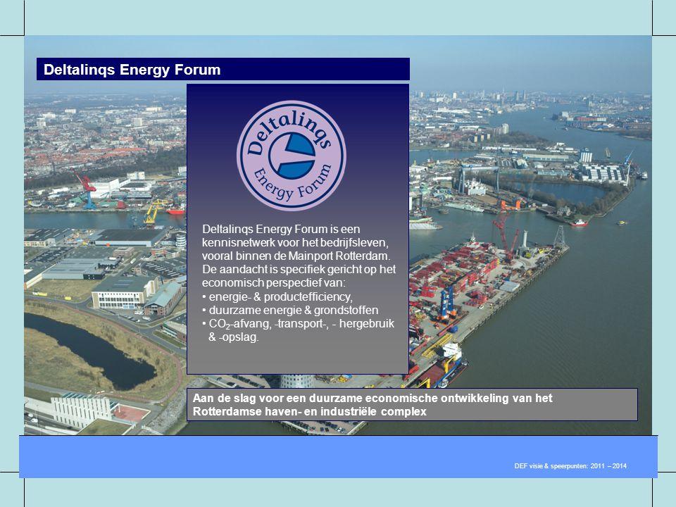 Deltalinqs Energy Forum DEF visie & speerpunten: 2011 – 2014 Aan de slag voor een duurzame economische ontwikkeling van het Rotterdamse haven- en indu