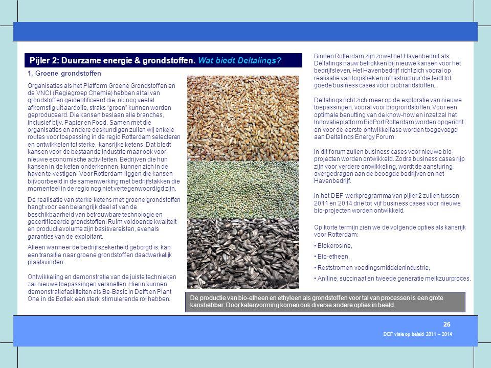 De productie van bio-etheen en ethyleen als grondstoffen voor tal van processen is een grote kanshebber. Door ketenvorming komen ook diverse andere op