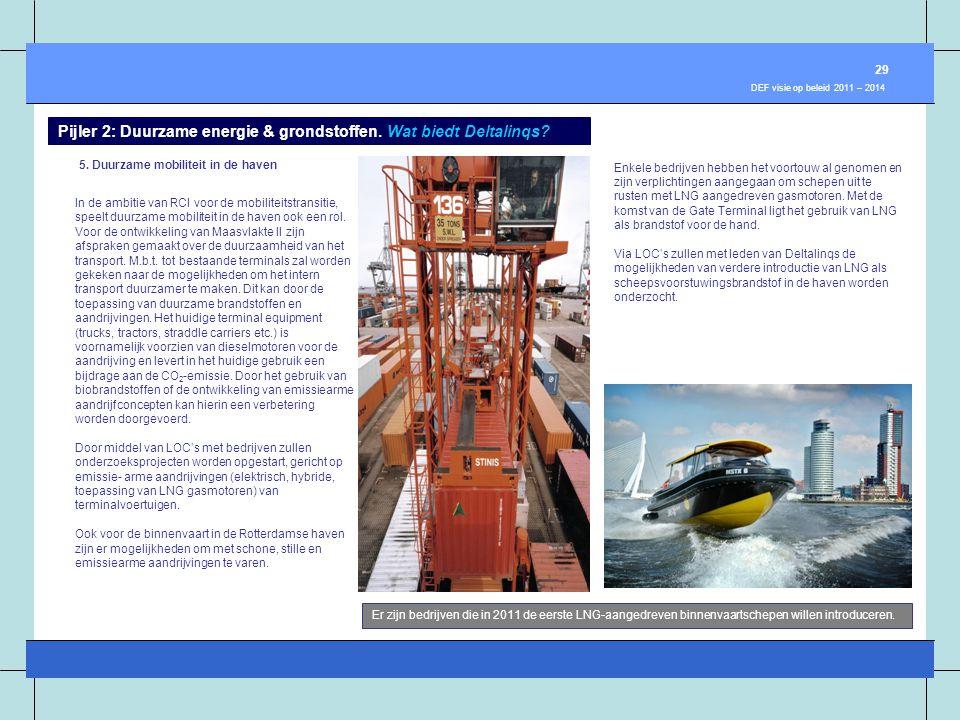 5. Duurzame mobiliteit in de haven In de ambitie van RCI voor de mobiliteitstransitie, speelt duurzame mobiliteit in de haven ook een rol. Voor de ont