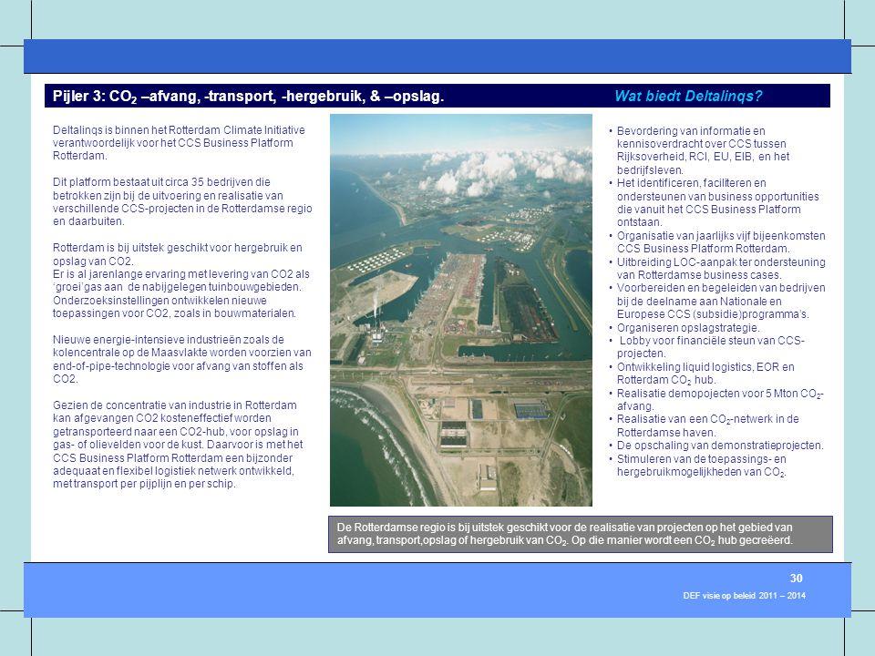 Deltalinqs is binnen het Rotterdam Climate Initiative verantwoordelijk voor het CCS Business Platform Rotterdam. Dit platform bestaat uit circa 35 bed