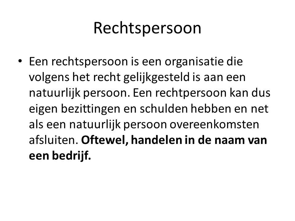 Rechtspersoon • Een rechtspersoon is een organisatie die volgens het recht gelijkgesteld is aan een natuurlijk persoon. Een rechtpersoon kan dus eigen