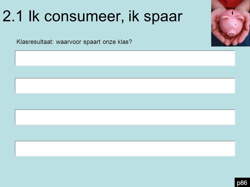 2.1 Ik consumeer, ik spaar Klasresultaat: waarvoor spaart onze klas? p86