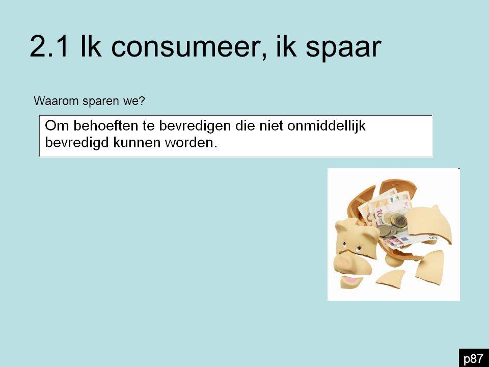 2.1 Ik consumeer, ik spaar Waarom sparen we? p87