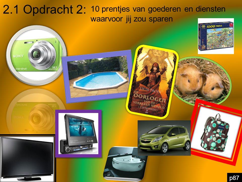 2.1 Opdracht 2: p87 10 prentjes van goederen en diensten waarvoor jij zou sparen