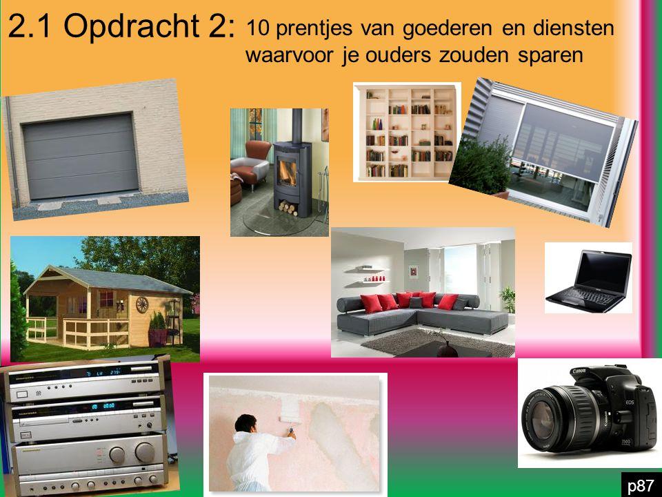 2.1 Opdracht 2: p87 10 prentjes van goederen en diensten waarvoor je ouders zouden sparen