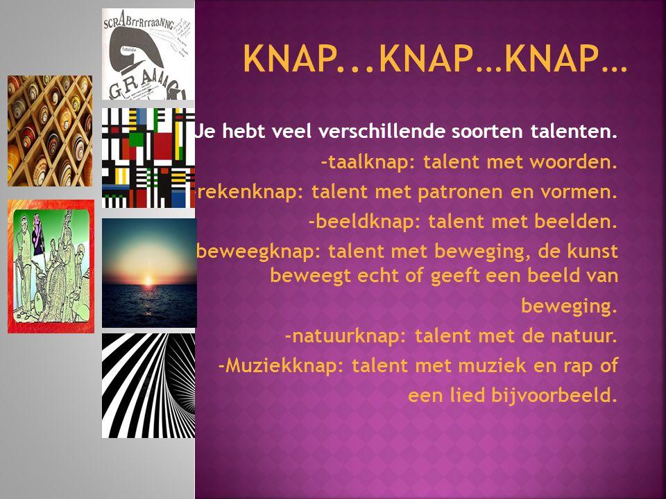 Je hebt veel verschillende soorten talenten. -taalknap: talent met woorden. -rekenknap: talent met patronen en vormen. -beeldknap: talent met beelden.