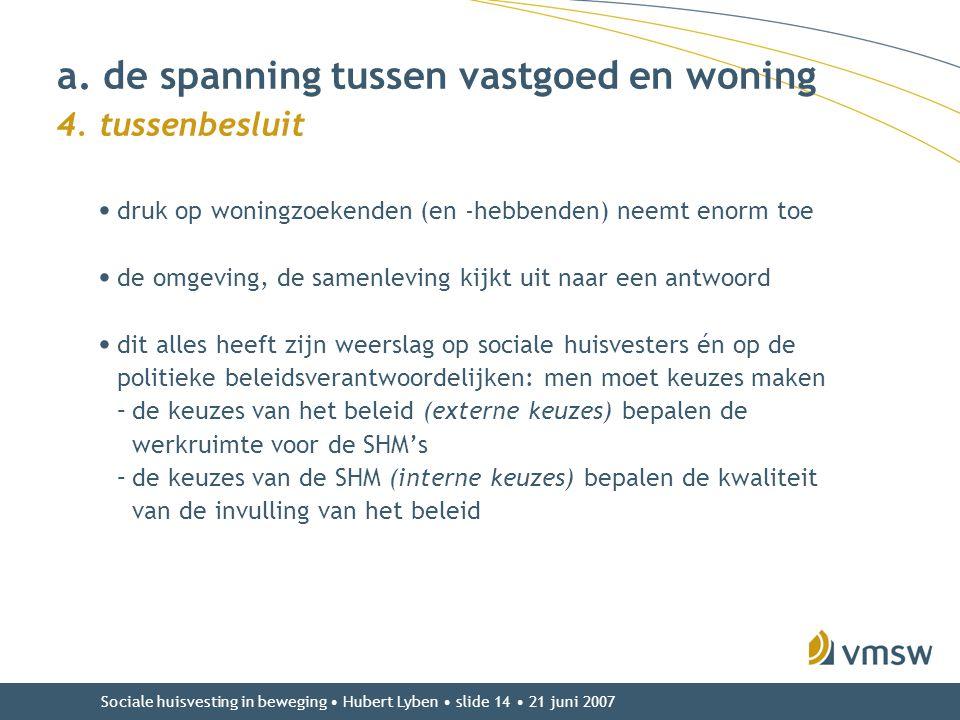 Sociale huisvesting in beweging • Hubert Lyben • slide 14 • 21 juni 2007 • druk op woningzoekenden (en -hebbenden) neemt enorm toe • de omgeving, de s