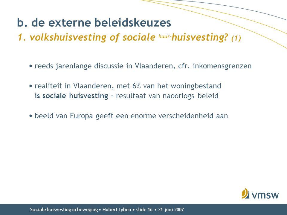 Sociale huisvesting in beweging • Hubert Lyben • slide 16 • 21 juni 2007 b. de externe beleidskeuzes 1. volkshuisvesting of sociale huur- huisvesting?