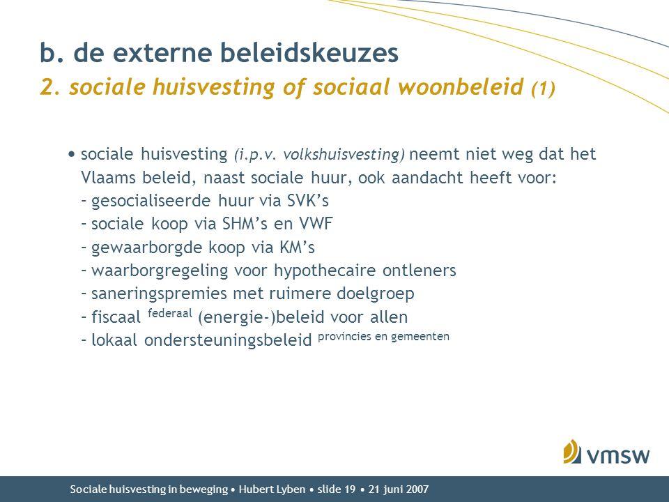 Sociale huisvesting in beweging • Hubert Lyben • slide 19 • 21 juni 2007 • sociale huisvesting (i.p.v. volkshuisvesting) neemt niet weg dat het Vlaams