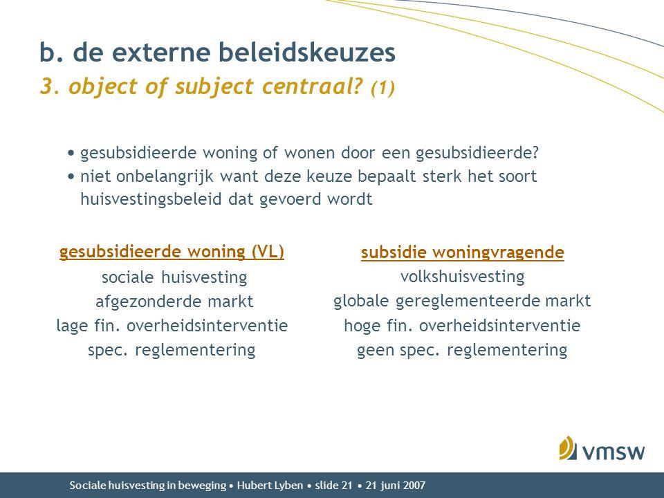 Sociale huisvesting in beweging • Hubert Lyben • slide 21 • 21 juni 2007 • gesubsidieerde woning of wonen door een gesubsidieerde? • niet onbelangrijk