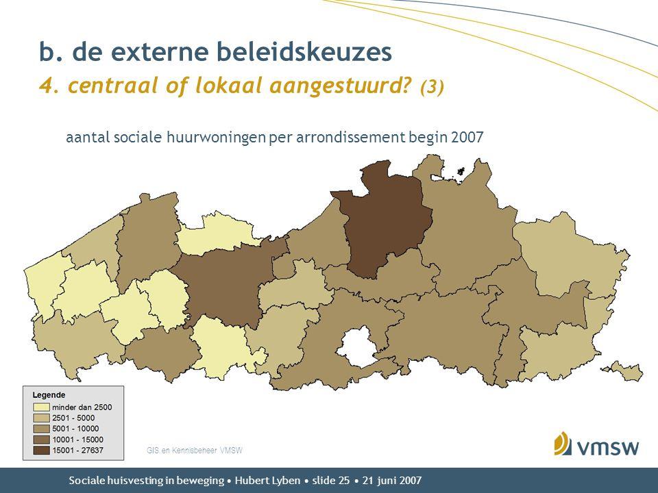 Sociale huisvesting in beweging • Hubert Lyben • slide 25 • 21 juni 2007 GIS en Kennisbeheer VMSW b. de externe beleidskeuzes 4. centraal of lokaal aa