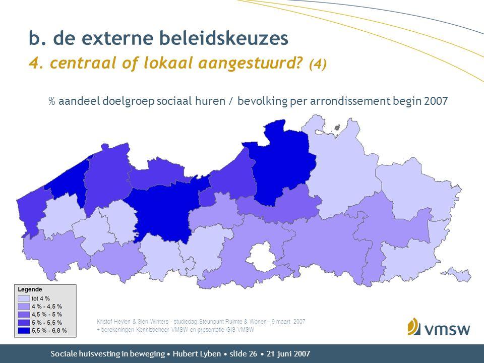 Sociale huisvesting in beweging • Hubert Lyben • slide 26 • 21 juni 2007 b. de externe beleidskeuzes 4. centraal of lokaal aangestuurd? (4) Kristof He