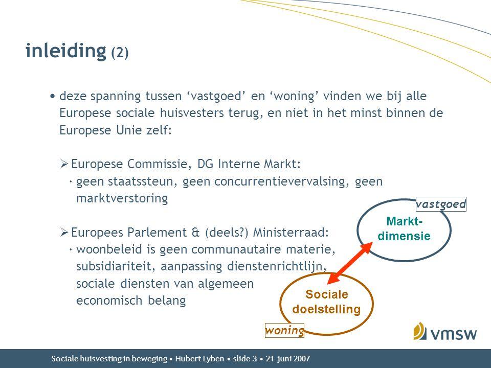 Sociale huisvesting in beweging • Hubert Lyben • slide 3 • 21 juni 2007 inleiding (2) • deze spanning tussen 'vastgoed' en 'woning' vinden we bij alle