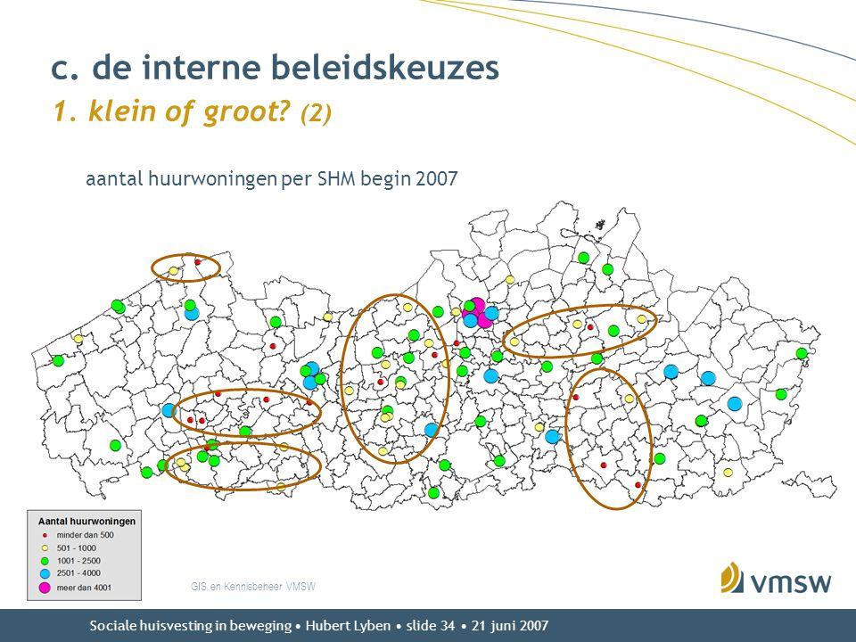 Sociale huisvesting in beweging • Hubert Lyben • slide 34 • 21 juni 2007 c. de interne beleidskeuzes 1. klein of groot? (2) GIS en Kennisbeheer VMSW a