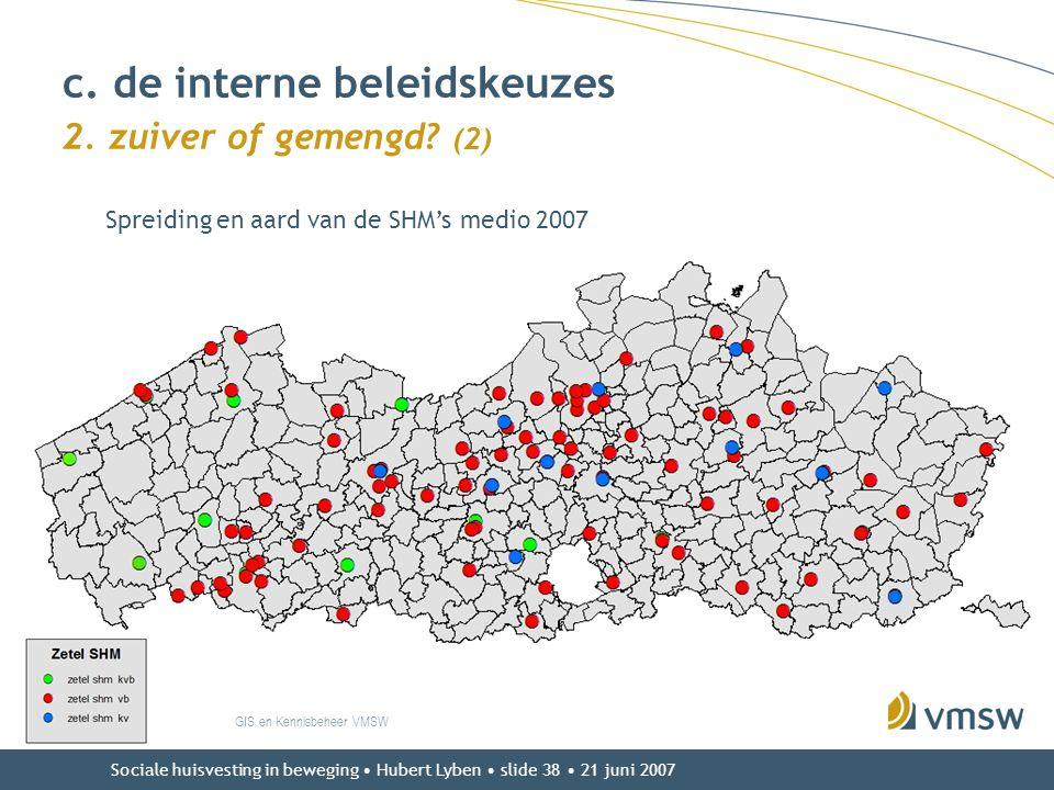 Sociale huisvesting in beweging • Hubert Lyben • slide 38 • 21 juni 2007 c. de interne beleidskeuzes 2. zuiver of gemengd? (2) GIS en Kennisbeheer VMS