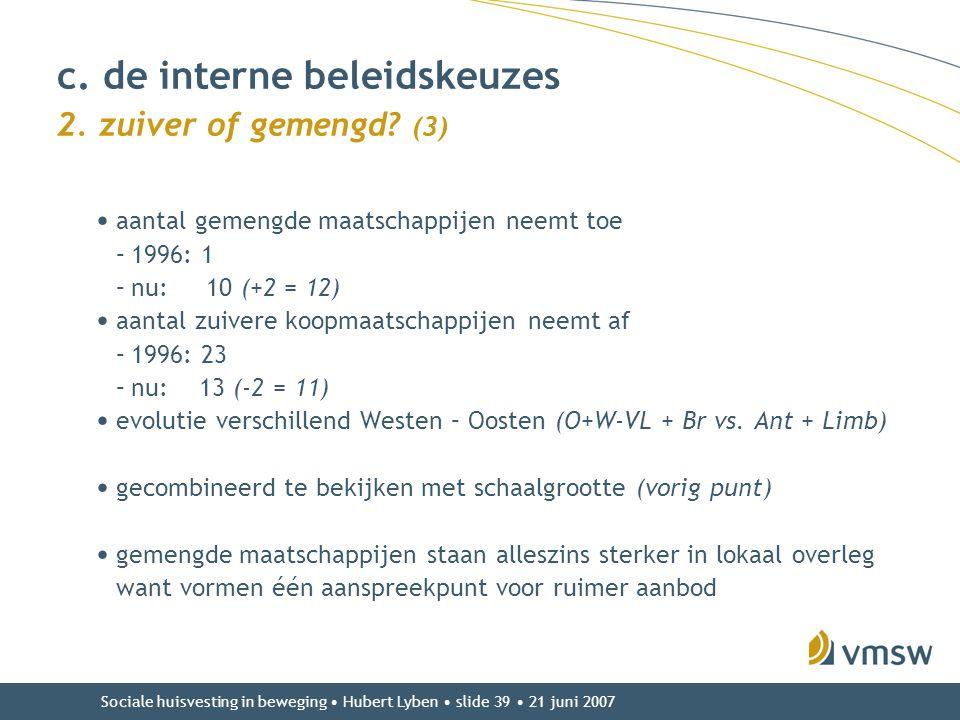Sociale huisvesting in beweging • Hubert Lyben • slide 39 • 21 juni 2007 • aantal gemengde maatschappijen neemt toe –1996: 1 –nu: 10 (+2 = 12) • aanta
