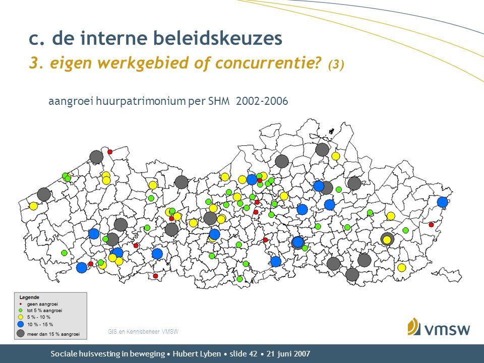 Sociale huisvesting in beweging • Hubert Lyben • slide 42 • 21 juni 2007 GIS en Kennisbeheer VMSW c. de interne beleidskeuzes 3. eigen werkgebied of c