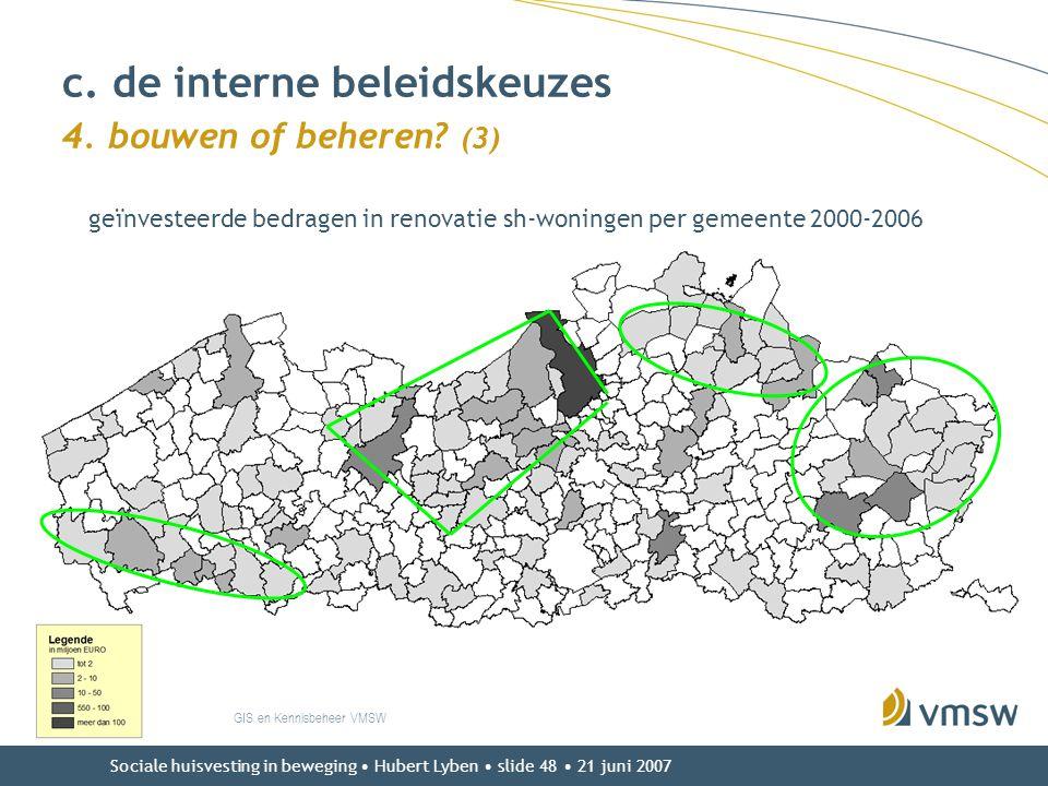 Sociale huisvesting in beweging • Hubert Lyben • slide 48 • 21 juni 2007 c. de interne beleidskeuzes 4. bouwen of beheren? (3) GIS en Kennisbeheer VMS