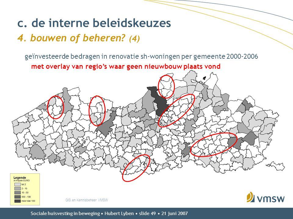 Sociale huisvesting in beweging • Hubert Lyben • slide 49 • 21 juni 2007 c. de interne beleidskeuzes 4. bouwen of beheren? (4) GIS en Kennisbeheer VMS