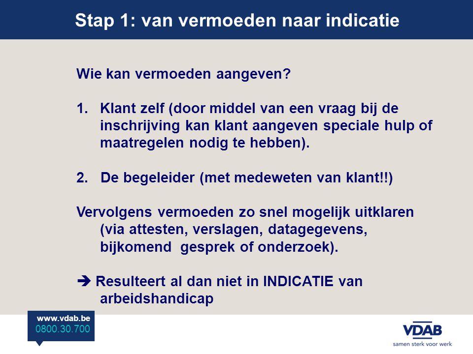 www.vdab.be 0800 30 700 Stap 1: van vermoeden naar indicatie www.vdab.be 0800.30.700 Wie kan vermoeden aangeven.