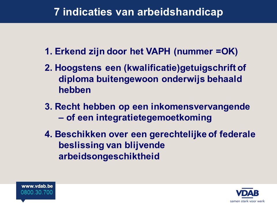 www.vdab.be 0800 30 700 7 indicaties van arbeidshandicap www.vdab.be 0800.30.700 1.