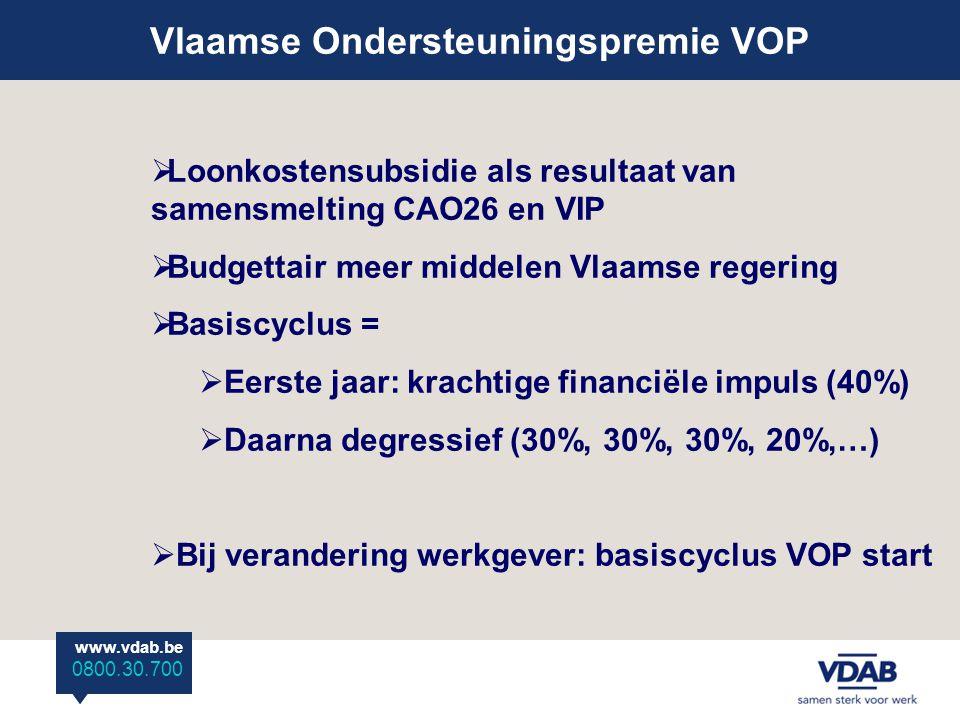 www.vdab.be 0800 30 700 Vlaamse Ondersteuningspremie VOP www.vdab.be 0800.30.700  Loonkostensubsidie als resultaat van samensmelting CAO26 en VIP  Budgettair meer middelen Vlaamse regering  Basiscyclus =  Eerste jaar: krachtige financiële impuls (40%)  Daarna degressief (30%, 30%, 30%, 20%,…)  Bij verandering werkgever: basiscyclus VOP start