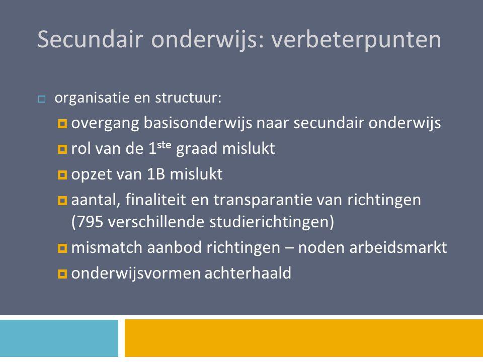 Secundair onderwijs: verbeterpunten  organisatie en structuur:  overgang basisonderwijs naar secundair onderwijs  rol van de 1 ste graad mislukt 