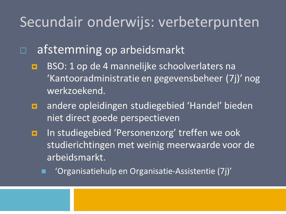 Secundair onderwijs: verbeterpunten  afstemming op arbeidsmarkt  BSO: 1 op de 4 mannelijke schoolverlaters na 'Kantooradministratie en gegevensbehee