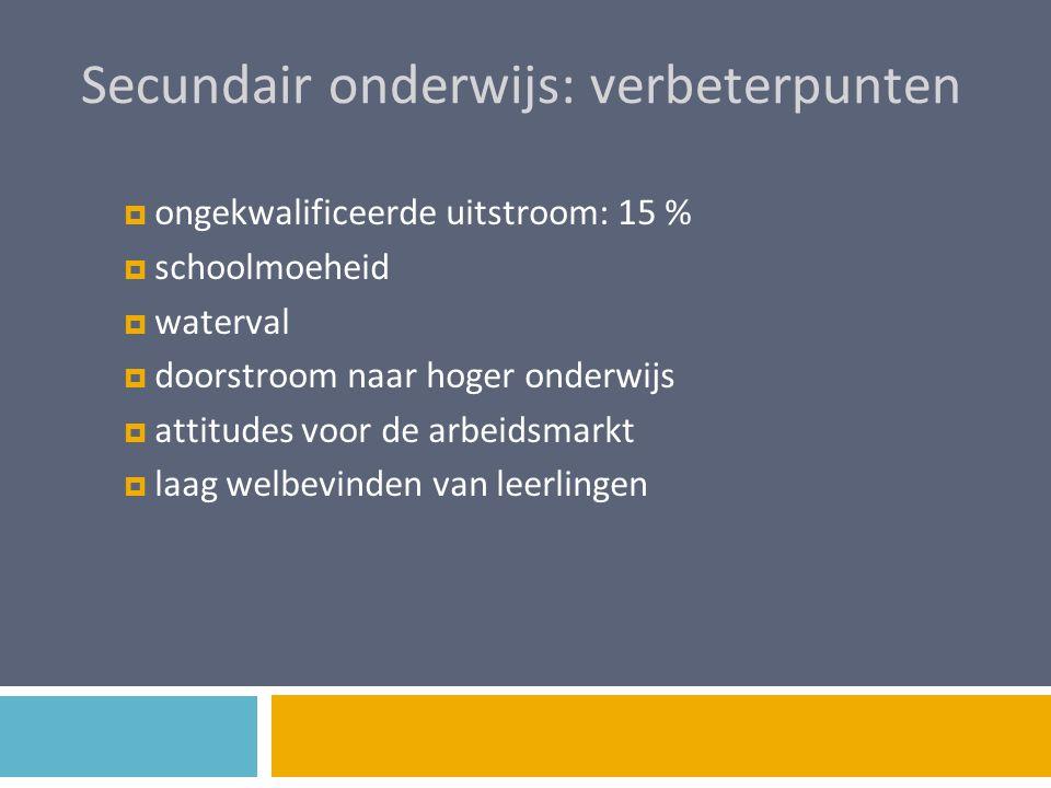 Secundair onderwijs: verbeterpunten  ongekwalificeerde uitstroom: 15 %  schoolmoeheid  waterval  doorstroom naar hoger onderwijs  attitudes voor