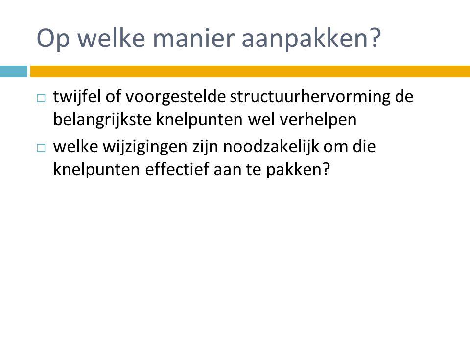 Op welke manier aanpakken?  twijfel of voorgestelde structuurhervorming de belangrijkste knelpunten wel verhelpen  welke wijzigingen zijn noodzakeli