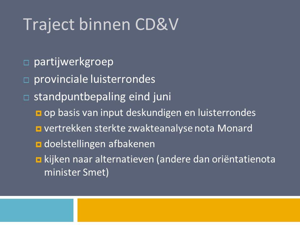 Traject binnen CD&V  partijwerkgroep  provinciale luisterrondes  standpuntbepaling eind juni  op basis van input deskundigen en luisterrondes  ve