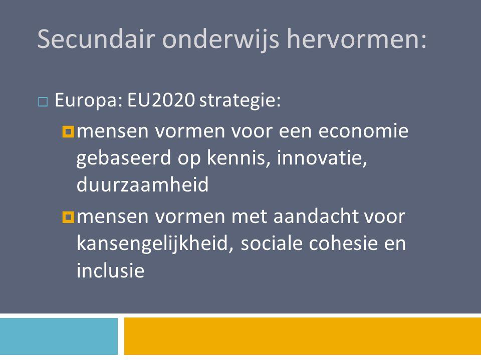 Secundair onderwijs hervormen:  Vlaanderen:  ViA: om uit te groeien tot een topregio moeten we daartoe essentiële talenten en competenties ontwikkelen  regeerakkoord: we hervormen het secundair onderwijs en baseren ons op het rapport van de commissie Monard