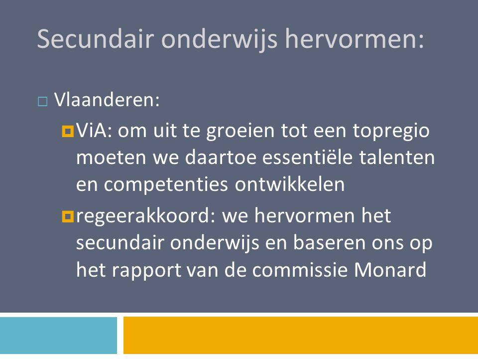 Secundair onderwijs hervormen:  Vlaanderen:  ViA: om uit te groeien tot een topregio moeten we daartoe essentiële talenten en competenties ontwikkel