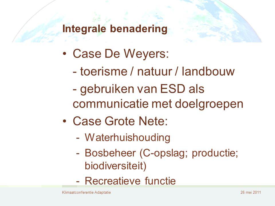 Klimaatconferentie Adaptatie26 mei 2011 Integrale benadering •Landbouw: •Natuurlijke plaagbestrijding •Koolstof- en waterbeheer •Groene/blauwe infrastructuur -Verplicht .