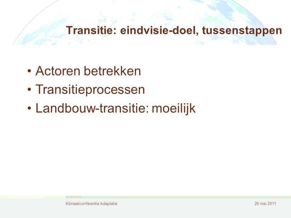 Klimaatconferentie Adaptatie26 mei 2011 Transitie: eindvisie-doel, tussenstappen •Actoren betrekken •Transitieprocessen •Landbouw-transitie: moeilijk