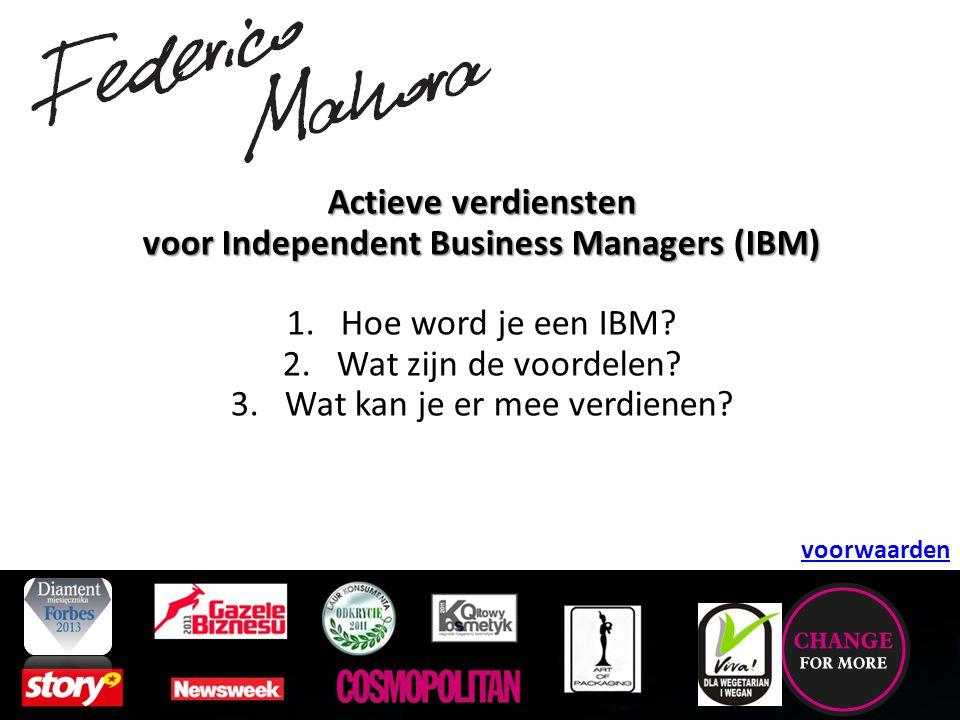 Independent Business Manager.Je kan via onze webshop een webshoptegoed aankopen van € 659.