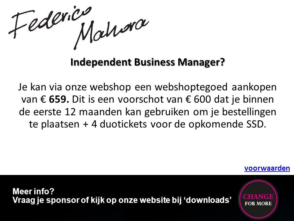 Independent Business Manager? Je kan via onze webshop een webshoptegoed aankopen van € 659. Dit is een voorschot van € 600 dat je binnen de eerste 12