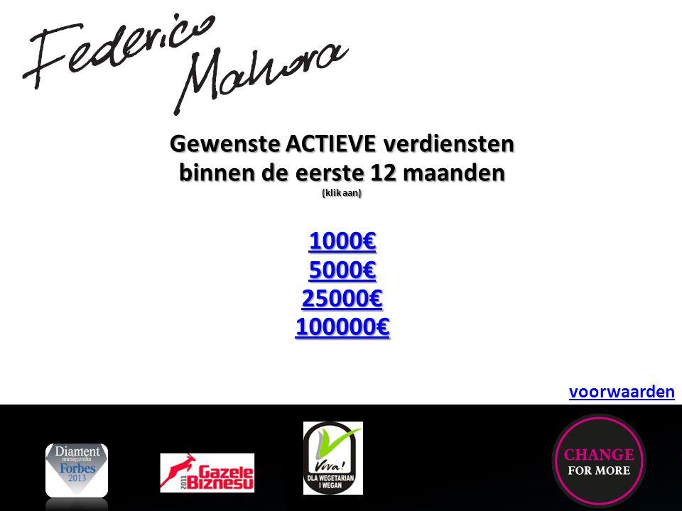 Gewenste ACTIEVE verdiensten binnen de eerste 12 maanden (klik aan) 1000€ 5000€ 25000€ 100000€ voorwaarden