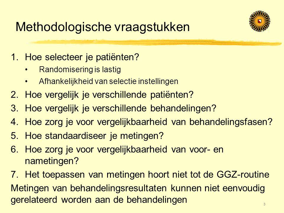 Methodologische vraagstukken 3 1.Hoe selecteer je patiënten? •Randomisering is lastig •Afhankelijkheid van selectie instellingen 2.Hoe vergelijk je ve