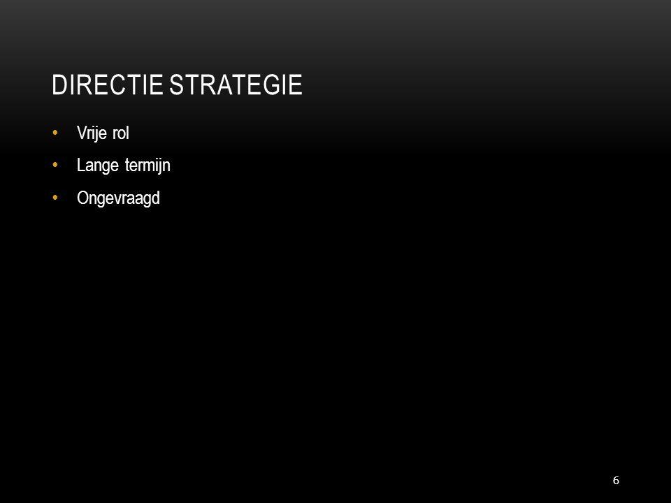 DIRECTIE STRATEGIE 6 • Vrije rol • Lange termijn • Ongevraagd