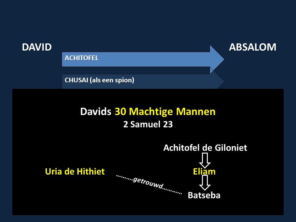 DAVIDABSALOM ACHITOFEL CHUSAI (als een spion) Davids 30 Machtige Mannen 2 Samuel 23 23:34 Eliam (zoon van Achitofel de Giloniet) 23:39 Uria de Hitiet (wiens vrouw Batseba, de dochter van Eliam was) Davids 30 Machtige Mannen 2 Samuel 23 Achitofel de Giloniet Uria de Hithiet Eliam Batseba Batseba ……….getrouwd…………