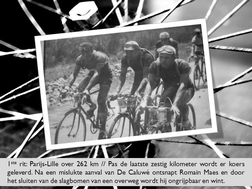 1 ste rit: Parijs-Lille over 262 km // Pas de laatste zestig kilometer wordt er koers geleverd. Na een mislukte aanval van De Caluwé ontsnapt Romain M