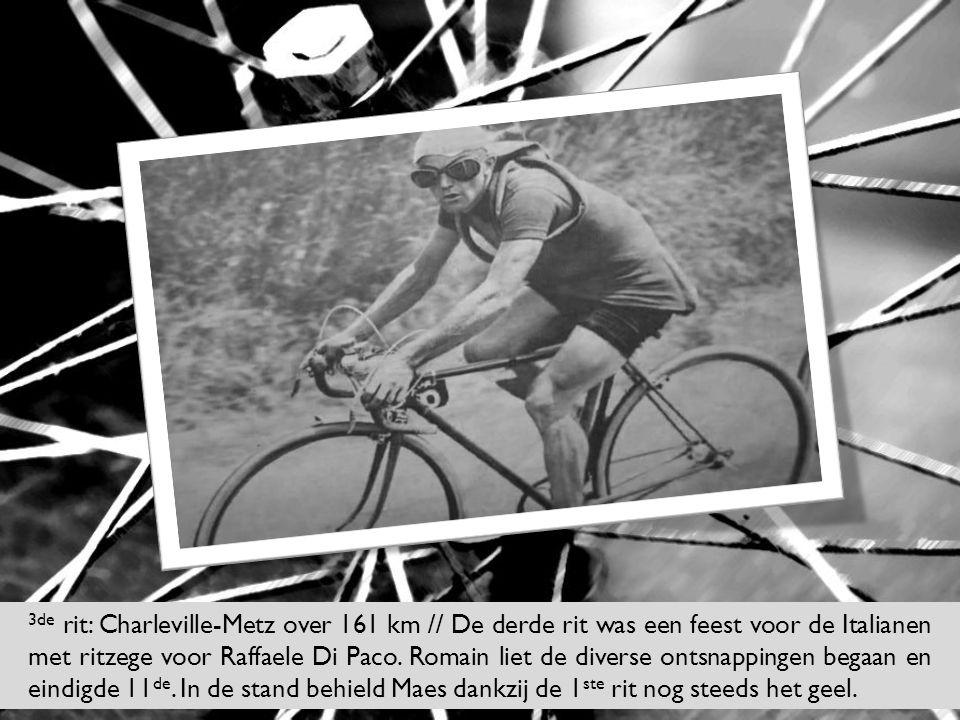 3de rit: Charleville-Metz over 161 km // De derde rit was een feest voor de Italianen met ritzege voor Raffaele Di Paco. Romain liet de diverse ontsna