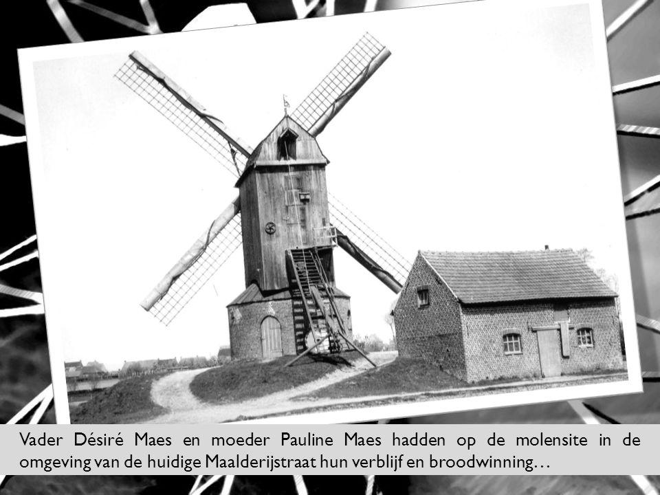 Vader Désiré Maes en moeder Pauline Maes hadden op de molensite in de omgeving van de huidige Maalderijstraat hun verblijf en broodwinning…