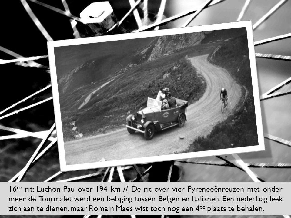 16 de rit: Luchon-Pau over 194 km // De rit over vier Pyreneeënreuzen met onder meer de Tourmalet werd een belaging tussen Belgen en Italianen. Een ne