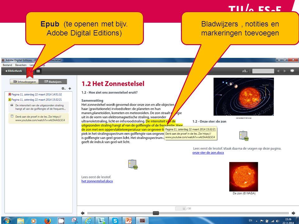 Epub (te openen met bijv. Adobe Digital Editions) Bladwijzers, notities en markeringen toevoegen