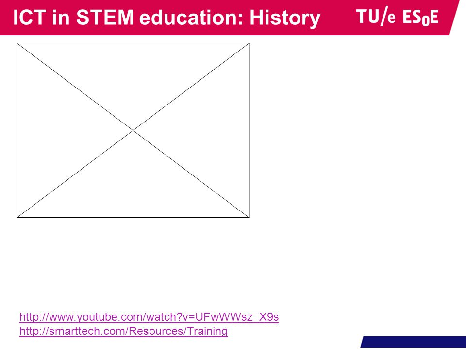 ICT in STEM education: History http://www.youtube.com/watch?v=UFwWWsz_X9s http://smarttech.com/Resources/Training